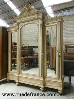 ANTIQUE FRENCH  3 DOOR PAINTED FINISH ARMOIRE - CUPBOARD - WARDROBE