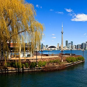 Toronto Islands  Originally a peninsula, the islands were formed when the rushing waters of the Don River separated a spit from the mainland during a ferocious storm in 1858.