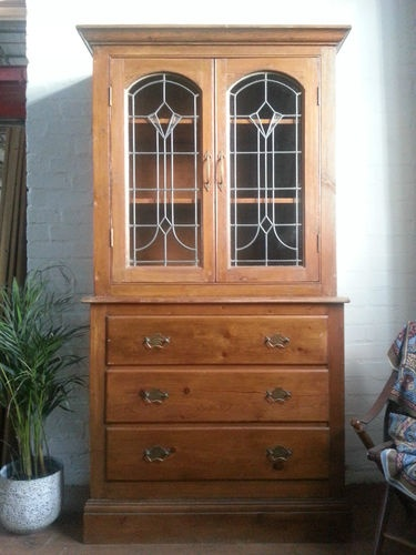 Antique Victorian Pine Glazed Dresser Sideboard Bookcase