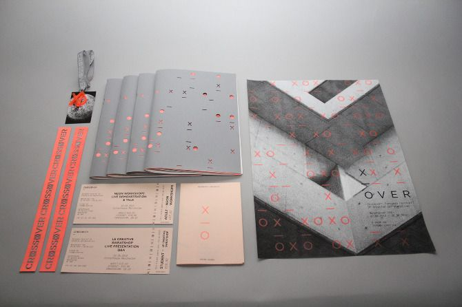 the project the 'Crossover Festival'. The name appears in various forms across the identity, with it being shortened to 'x-over' and then a pattern which adapts across the different resolutions. Black, white, grey and salmon form the core colour scheme with a screen-printed, neon spot colour overlaid. The printed collateral consists of promotional posters, a festival guide publication, event timetable, tickets, wristbands and lanyards.