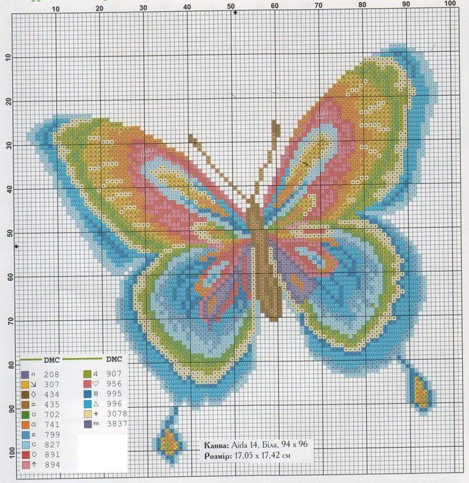 <3 Cross-stitch Bright Butterfly