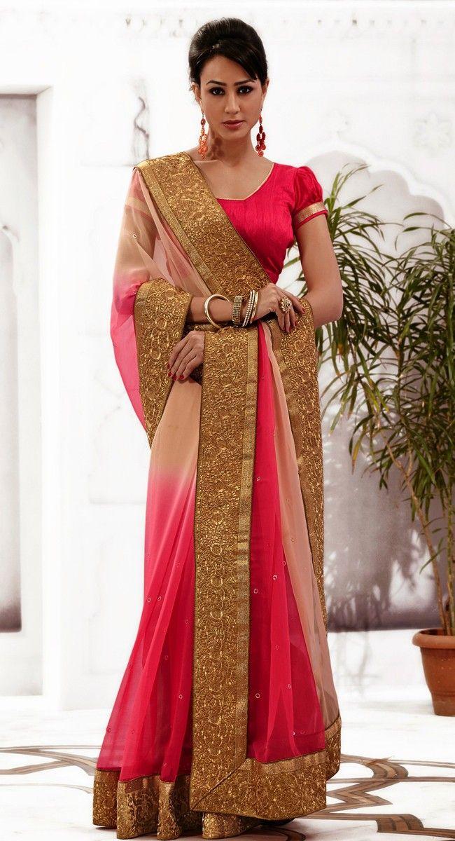 Butta Beige & Deep Pink Embroidered #Saree