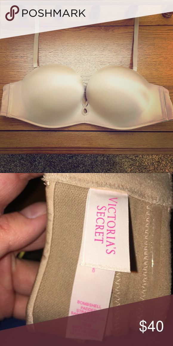 Victoria's Secret Bombshell Padded Convertible Bra Victoria's Secret Bombshell Padded Convertible Bra Size 38B. Push up bra adds one cup size. Can be strapless and straps are convertible for any dress or top. Worn once. Victoria's Secret Intimates & Sleepwear Bras
