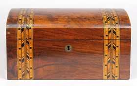 Edwardian marquetry tea caddy, late 19th/ 20th Century,
