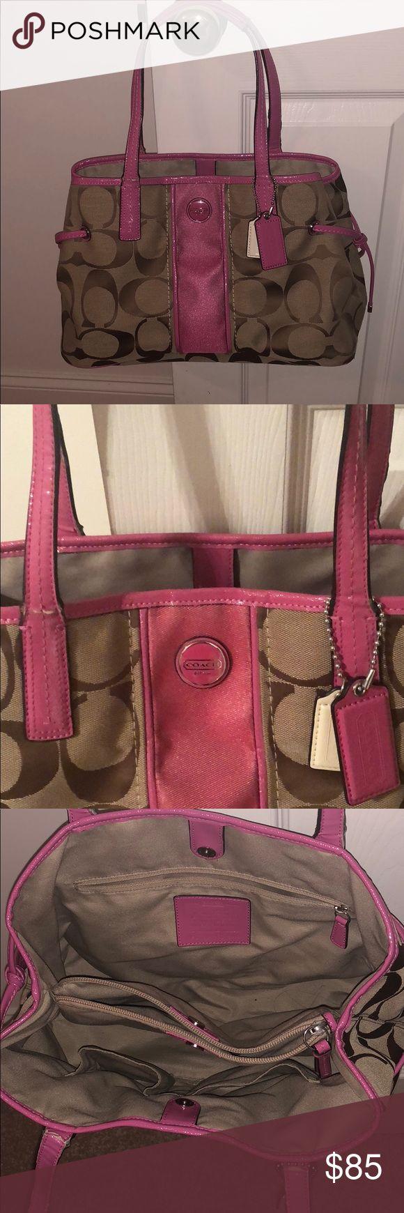 Coach Pocketbook 15 x 9  pink/ tan Coach pocket book.  Make me an offer ! Coach Bags Shoulder Bags
