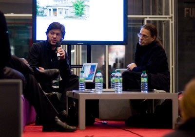 Panel discussion during the Rencontres Internationales Paris/Berlin/Madrid in Paris at the Centre Pompidou, December 3rd 2010. With Philippe Pirotte from the  Kunsthalle Bern - Director - Bern, Switzerland and Gerfried Stocker from  Ars Electronica - Artistic director - Linz, Austria.