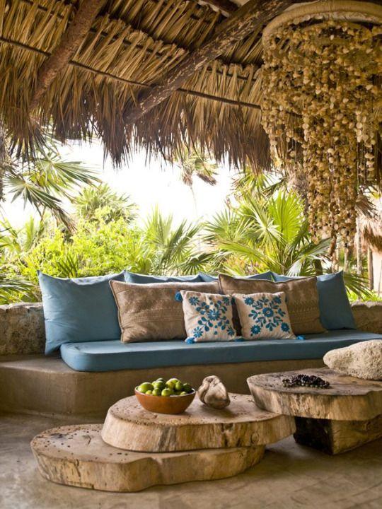 ☆SRTA-PEPIS on tumblr #llounge; cushions; hut; wood; tree slice tables;
