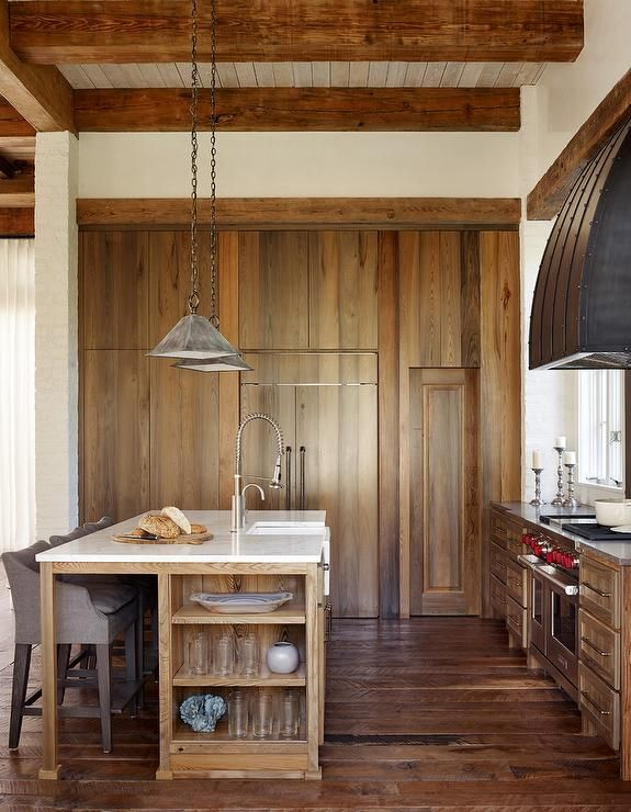 Rustic Kitchen With Wall Of Stained Oak Pantry Cabinets   Cottage   Kitchen