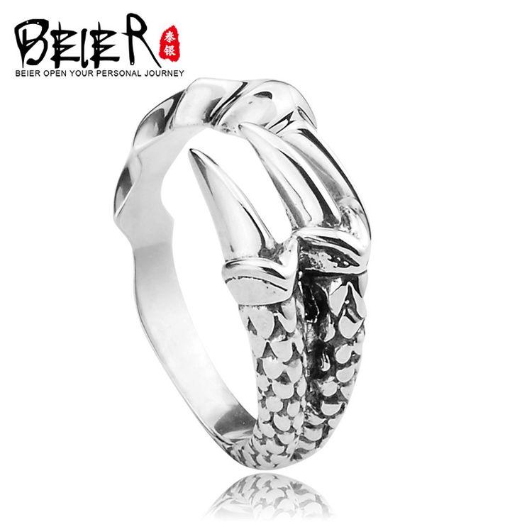 BEIER 925 sterling silver dragon claw anel aberto para o homem mulher Retro jóias mindinho tailândia D0469 em Anéis de Jóias & Acessórios no AliExpress.com | Alibaba Group