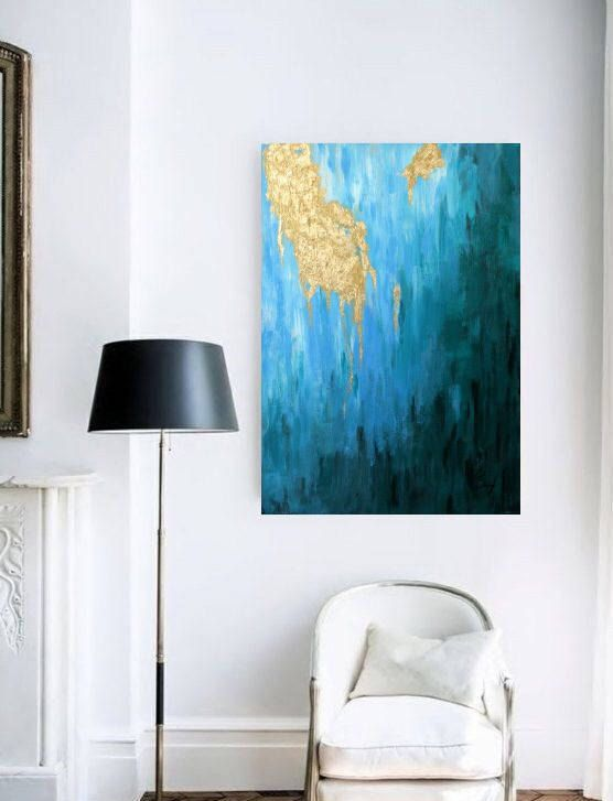 """Original landscape painting """"Glossy Sunlight"""" is the first painting from our """"Golden Rays Collection"""". It is one of a kind painting on canvas made with green and blue acrylic paints and a thick layer of gold leaf.  abstract painting acrylic abstract painting oil abstract painting blue abstract landscape abstract mountain painting abstract drawing  wall art abstract ocean abstract painting seascape painting home decor  modern art painting"""