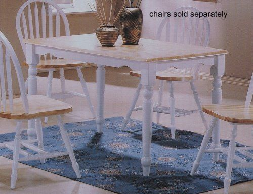Country Style White Natural Finish Solid Oak Wood Top Dining Table