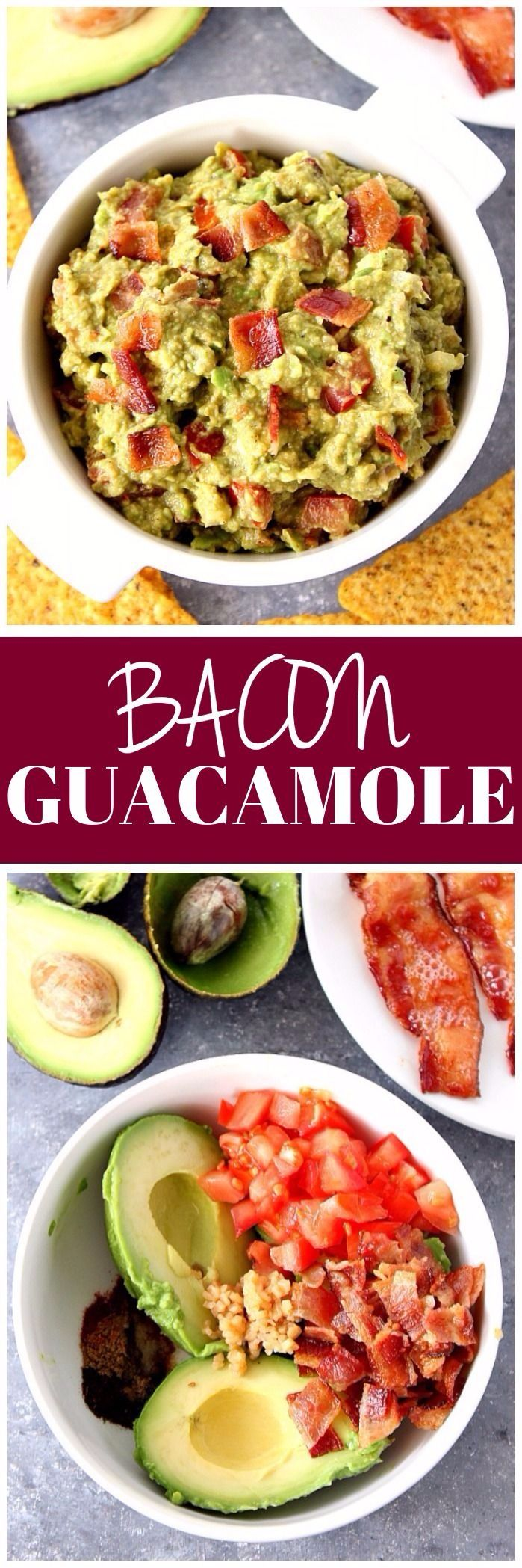 Bacon Guacamole Recipe - our favorite guacamole recipe that's perfect for parties and game day season! You will love the addition of bacon!