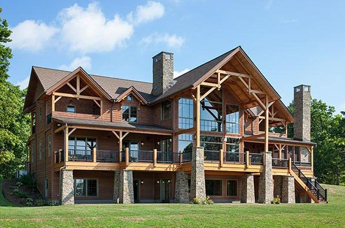 Great Camp Douglas Fir Timber Frame Home Lawrenceville Pa Woodhouse The Timber Frame Company Timber Frame Homes Timber Frame Plans Timber Frame House