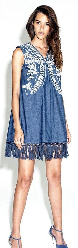 Even when it comes to denim dresses, it's all about the fringe.