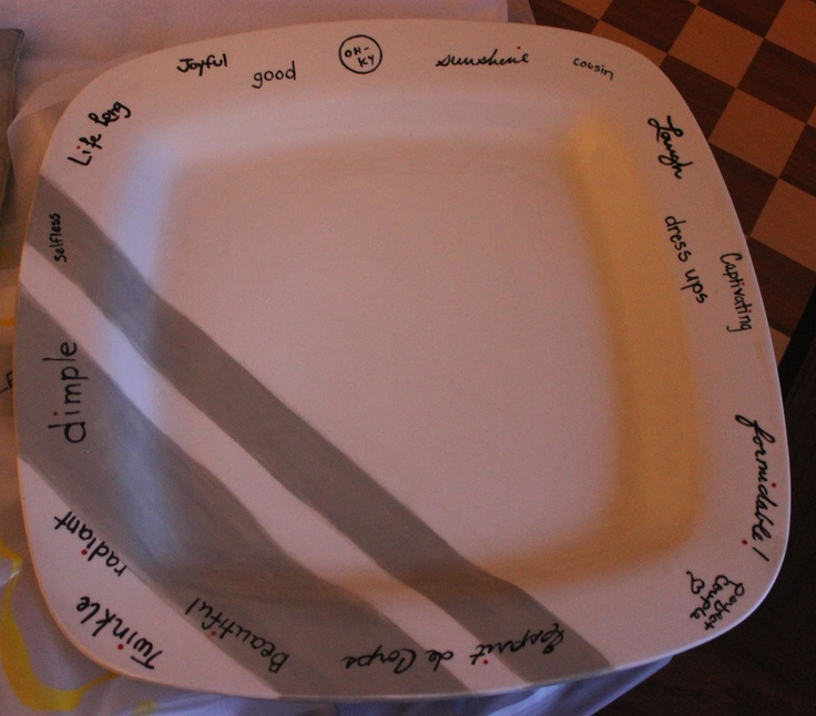 Bridal Shower idea-purchase a platter from a DIY ceramic store. Everyone at the party writes one word on the platter which describes the guest of honor, or a celebratory word.  Each guest also signs the back of the platter.  Decorate the platter to complement the couples' china or everyday dishes.  Take it back to the pottery store to get it fired  (I had them paint over all the words and autographs in black paint)  - voilà!  A beautiful and useful platter - the couple will love forever!
