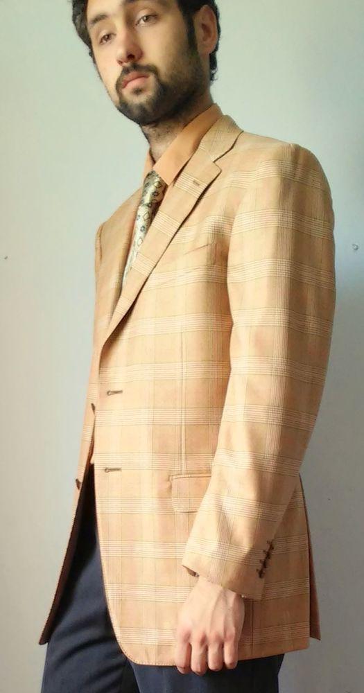Ermenegildo Zegna Trofeo Wool Navy Beige Windowpane Vent Sport Coat size 42 #ErmenegildoZegnaTrofeo #ThreeButton