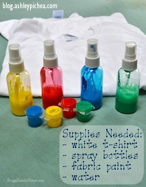 T-Shirt Painting with Spray Bottles - a fun spring break idea for your kids!