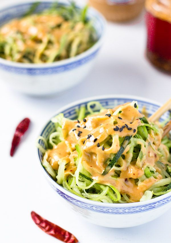 Zucchini Noodles with Spicy Peanut Sauce