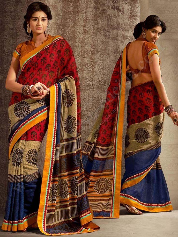 Многоцветное повседневное индийское сари из хлопка с шёлком