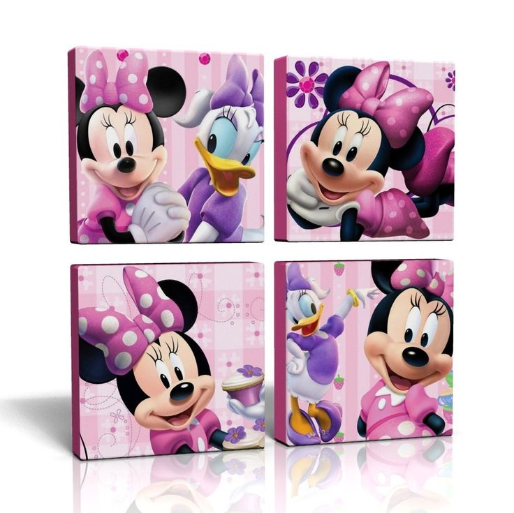 4 X DEEP EDGE CANVAS PICTURES WALL ART PINK MINNIE MOUSE FREE P&P NEW