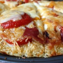 Tomato and Bacon Pizza with Rice Crust: A Royal Foodie Joust entry