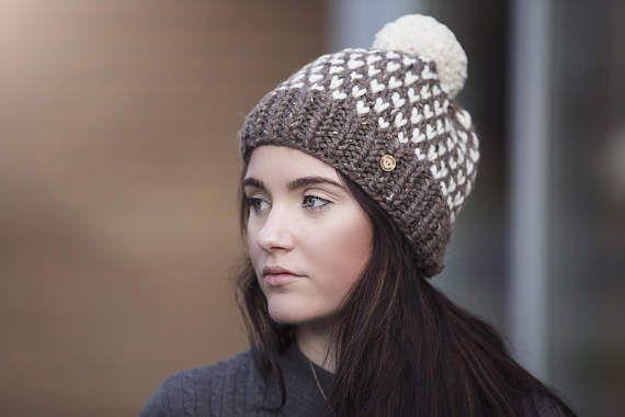 Brown Polka Dot Pom Pom Hand Knit Hat