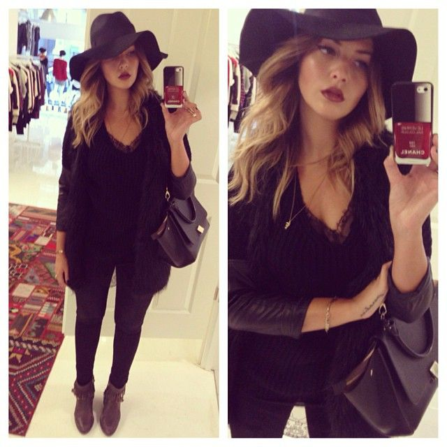 Sophisticated all-black outfit with an adorable black floppy hat.