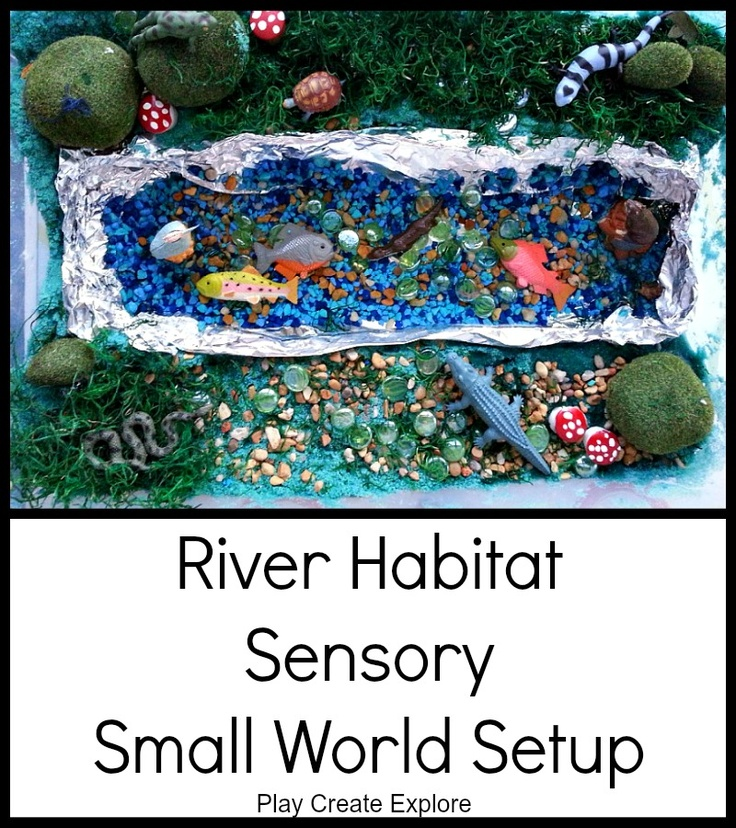 Play Create Explore: River Habitat Sensory Small World Setup - I love this Blog for ideas to help Lily learn while she plays!