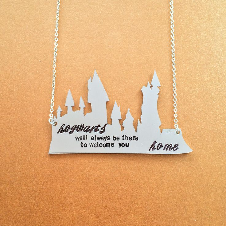 """Hogwarts+Will+Always+Be+There+To+Welcome+You+Home+Necklace+Harry+Potter+Wizarding+World+Inspired+Necklace+Handmade+SHIPS+FROM+USA    You+will+receive+one+necklace+with+a+hand+cut+Hogwarts+outline+pendant.+After+it+takes+its+shape,+it+is+stamped+with+the+words,+""""Hogwarts+will+always+be+there+to+we..."""