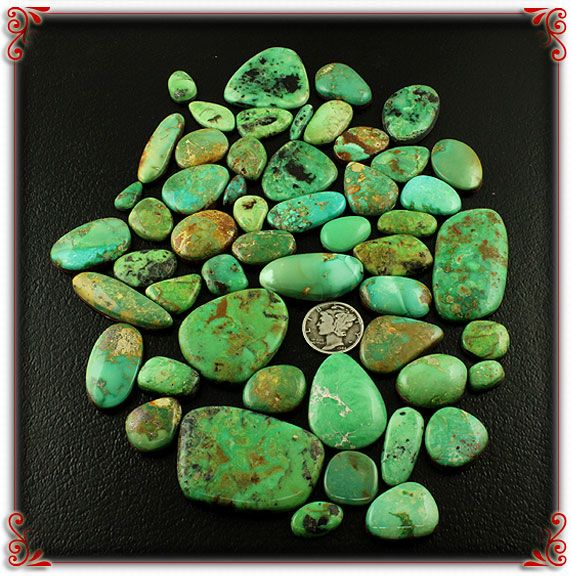 Emerald Valley Green Turquoise Cabochons from the Green Turquoise Cabochons page at Durango Silver Company site.