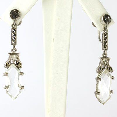Art Deco Vintage Jewelry - Clear Crystal & Marcasite Czech Art Deco Dangling Earrings
