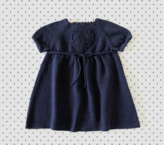 Knitted baby dress. Navy blue. Crochet heart. 100% cotton. READY TO SHIP size newborn.