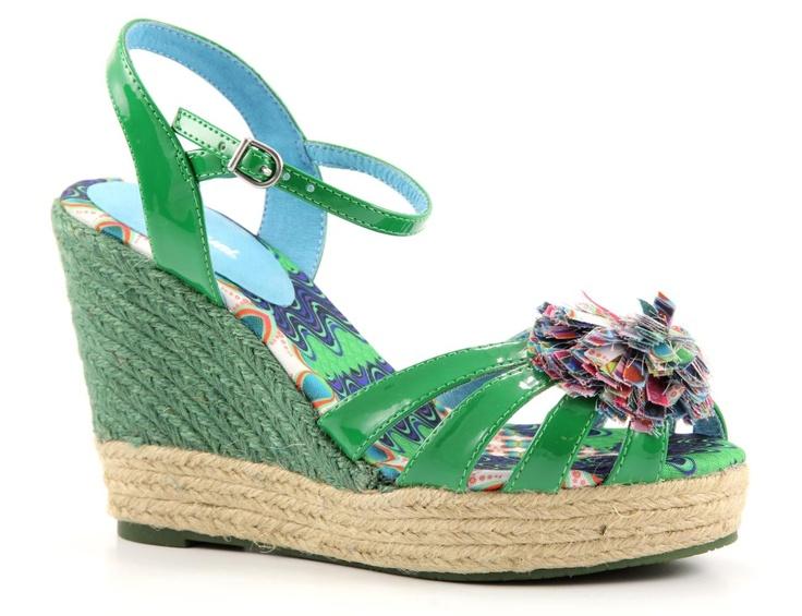 Desigual conchi groene sleehak sandalen.