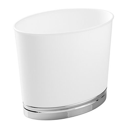 mDesign Oval Wastebasket Trash Can for Bathroom Kitchen Office  WhiteChrome *** Be sure to check out this awesome product.