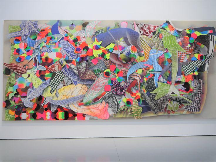 Frank Stella, Fladrine, 1994. Vue de l'oeuvre accrochée au Musée d'art moderne et contemporain de Saint-Etienne, exposition Archéologie du Présent, du 5 mars 2016 au 1er octobre 2017