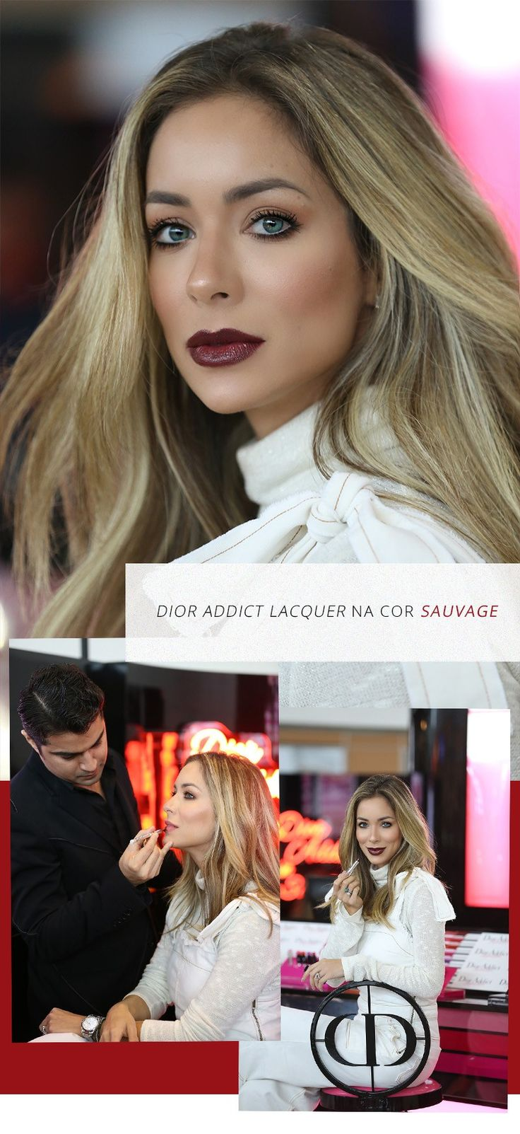 Make de Helena Lunardelli da Dior Addict Lacquer cor Sauvage, que eu AMO! O batom tem uma textura de um balm e a pigmentação e durabilidade de um batom.