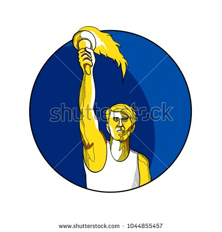Drawing sketch style illustration of a track and field athlete raising up a flaming torch with burning flames viewed from front set inside circle.  #athlete #drawing #illustration