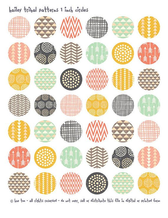 tribal patterns 1 inch circles and squares, collage sheets, pink mustard yellow aqua purple bottlecap images, triangles arrows 620