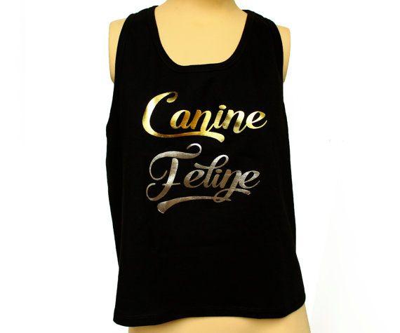 Gold foil, silver foil canine feline tank, acrylic paint, black pima cotton tshirt, canine feline print