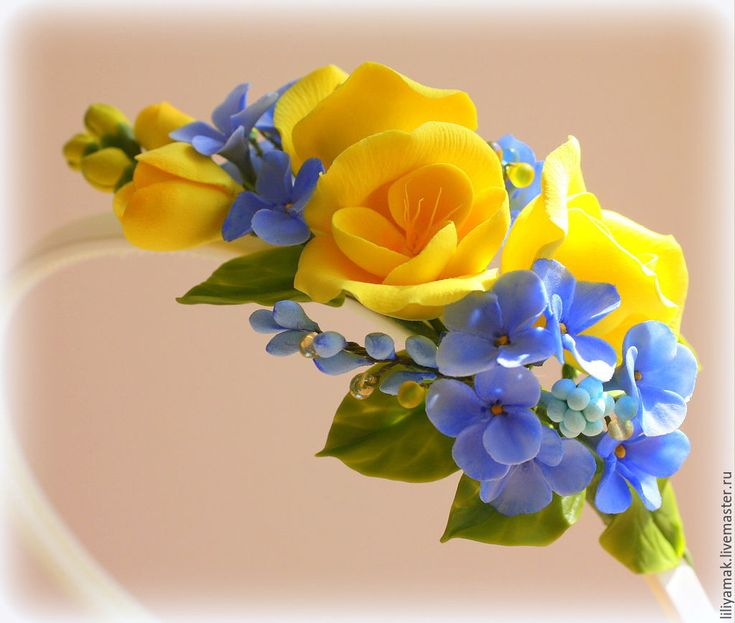 """Купить Ободок для волос с цветами ручной работы """" Солнечный день"""" - желтый, ободок с цветами"""