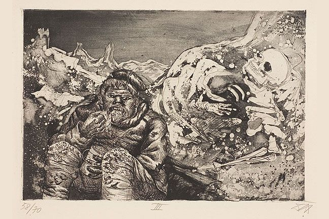 This iis Dix's painting, 'Mealtime in the Trench'