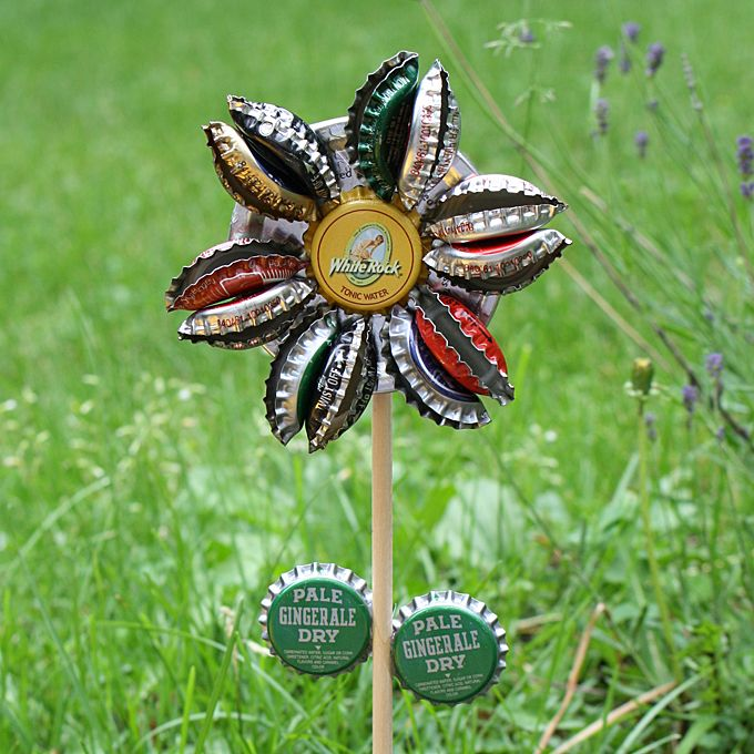 Recycle those old bottle caps into a darling flower for the garden. It's inexpensive and so cute!