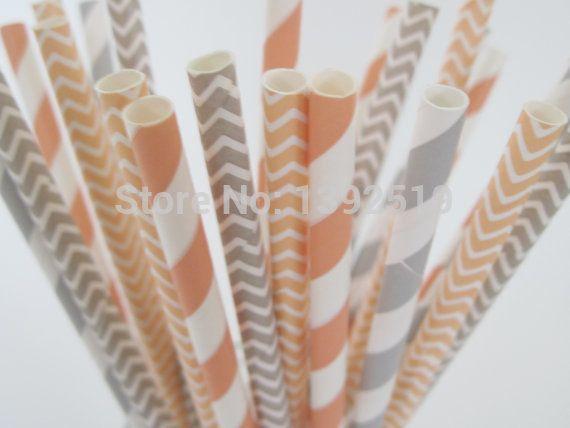 Frei schiff 250 stück Pfirsich und grau papier strohhalme hochzeit papier strohhalme- grau gestreiftes papier strohhalme- Pfirsich grau Chevron strohhalme(China (Mainland))