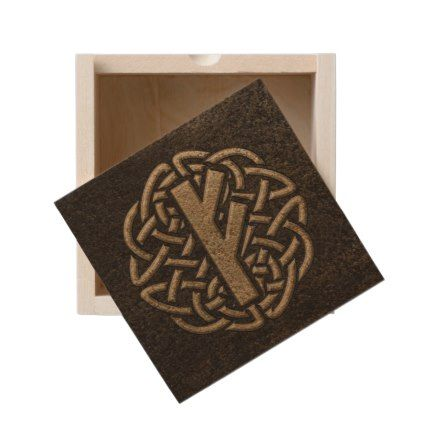 Fehu Rune Ancient Metal Embossed Amulet Wooden Keepsake Box - home gifts ideas decor special unique custom individual customized individualized