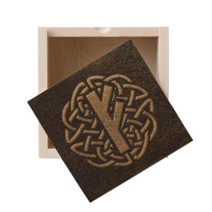 Fehu Rune Ancient Metal Embossed Amulet Wooden Keepsake Box - metallic style stylish great personalize