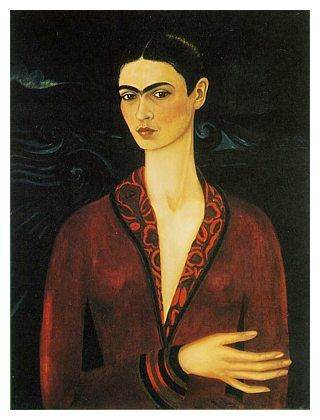 Frida Kahlo - Self-Portrait in a Velvet Dress  (oil on canvas, 1926)...the 'Self-Portrait in a Velvet Dress' suggests an influence and knowledge of European art.