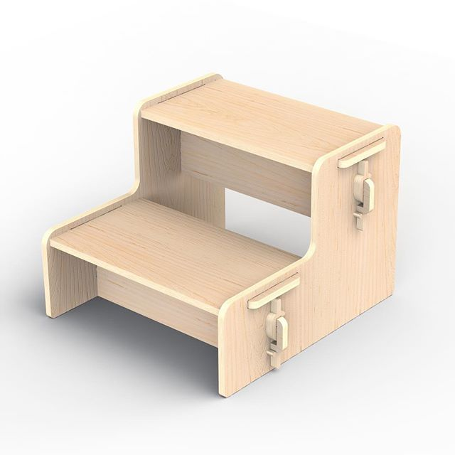 Necessity is the mother of all invention. We need something like this for our kids to reach the sink at home. It's only pixels for now but it won't be for long.  Completely collapsable and locked together with the $ clips.  The step treads are supported by the vertical pieces which also lock the sides in place.