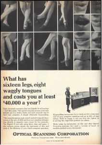 This 1960s advertisement targeted women computer operators for replacement by upgraded technology.