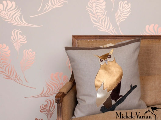 {shiny owl pillow & plume wallpaper} the link is actually for the metallic wallpaper, but I LOVE that owl pillow!