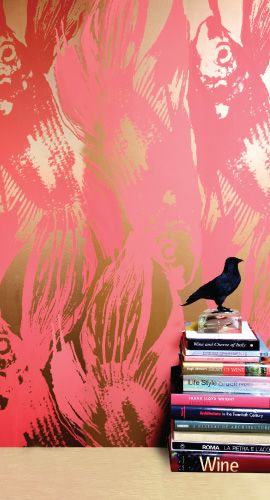 Amazing wallpaper for an accent wall!! Jill Malek's Betta wallpaper in persimmon